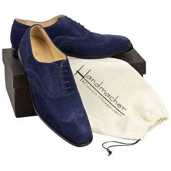 Full Brogue Oxford aus blauen Velourleder