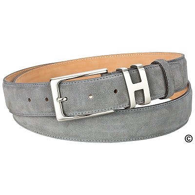 Grey leather belt made of suede by Handmacher