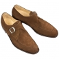 Preview: Handmacher brown suede monk strap shoes