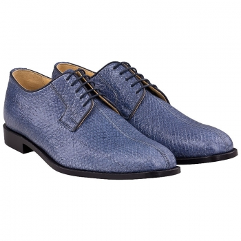 blue salmon leather shoes by Handmacher