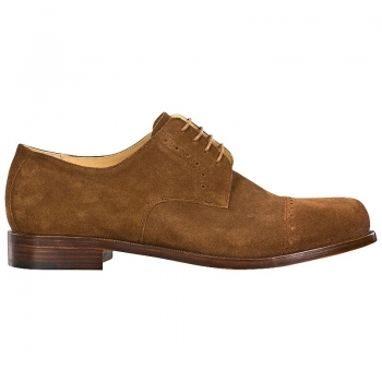 Handmacher derby shoes suede chestnut