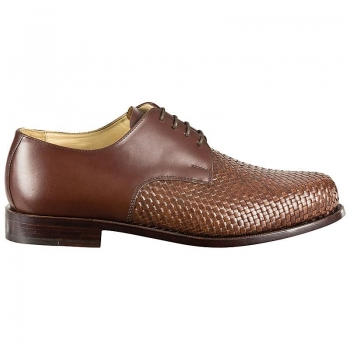 Woven leather shoes wood nailed