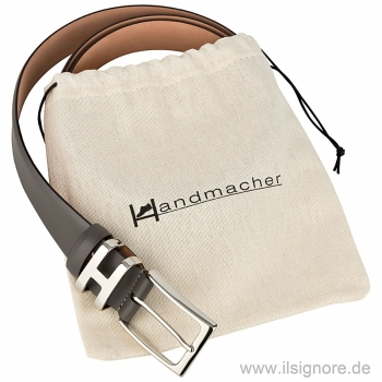 Gray leather belt by Handmacher Austria
