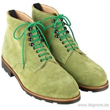 green suede boots by Handmacher