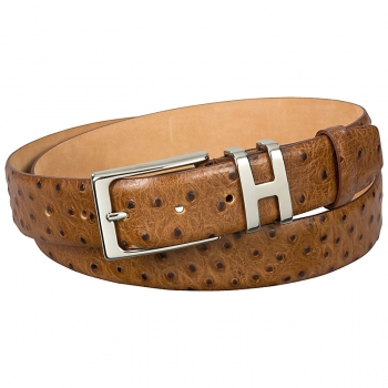 brown ostrich belt appearance
