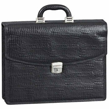 Black leather bag in reptile look