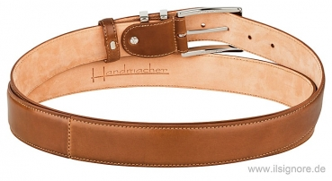 Handmacher shell cordovan leather belt cognac color