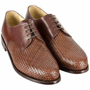 Woven leather shoes for men