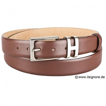 Brown boxcalf belt by Handmacher