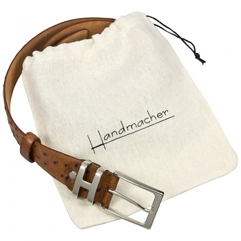 Handmacher brown ostrich belt appearance