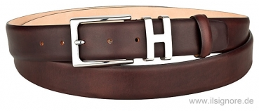 Handmacher belt pull up leather dark brown