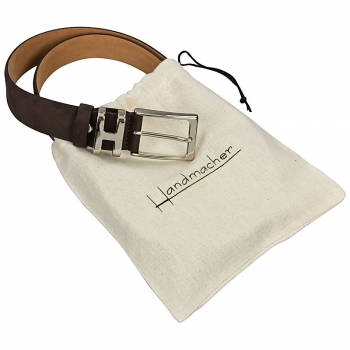 Handmacher belt nubuck leather mocha brown