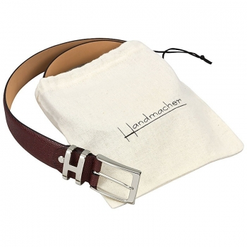 Handmacher belt in red scotch grain leather