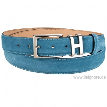 Handmacher belt suede in petrol color