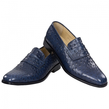 Handmacher blue loafer shoes