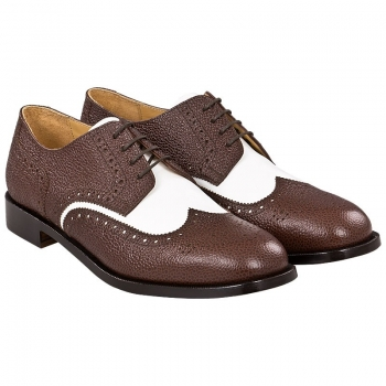 brown and white spectator shoes