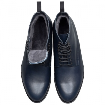 wood nailed men boots navy blue
