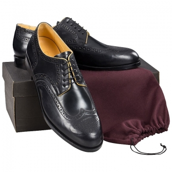 Full brogue Derby shoe in black Horween Shell Cordovan