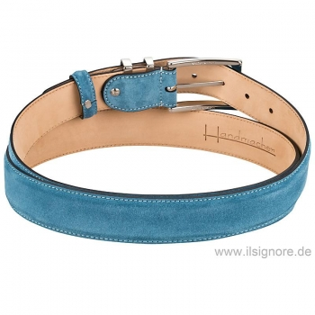Suede belt in color petrol by Handmacher
