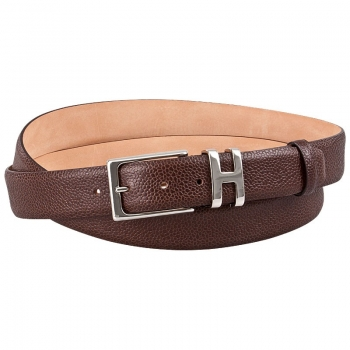 Leather belt scotch grain mocha brown