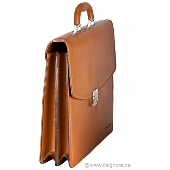 cognac leather bag by Handmacher