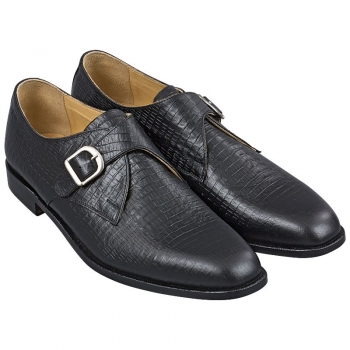 Handmacher monk strap in black calfskin