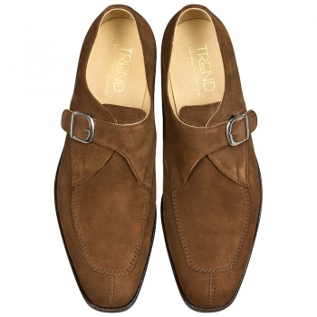 Handmacher brown suede monk shoes
