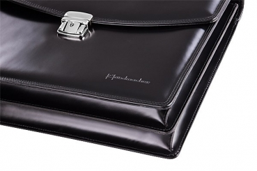 high gloss black Handmacher bag