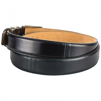 Shell cordovan belt in black by Horween and Handmacher