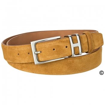 cognac suede belt by Handmacher