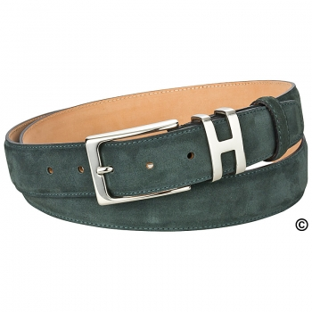 Handmacher green suede belt
