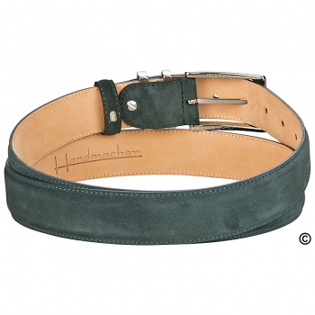 Handcrafted green suede belt