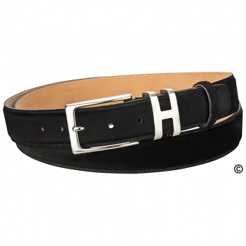 Black suede belt by Handmacher
