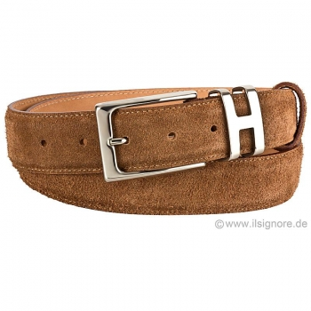 maroon suede belt by Handmacher