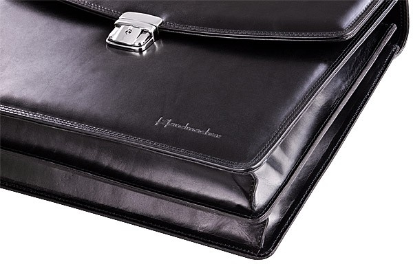 Black calfskin bag by Handmacher