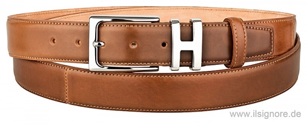 Shell cordovan belt in cognac color by Horween and Handmacher