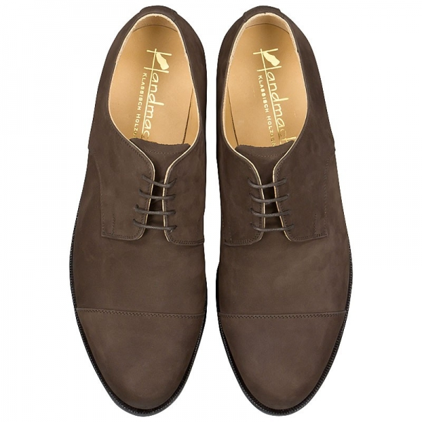 cap toe derby shoe nubuck leather