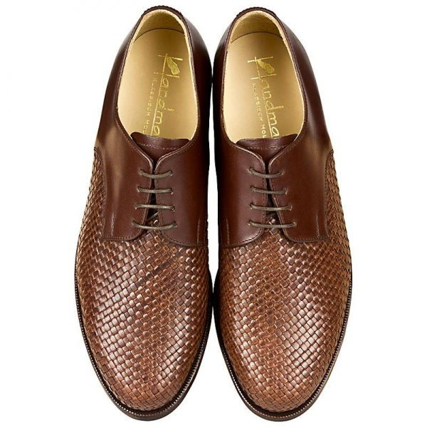 Woven leather shoes calfskin brown