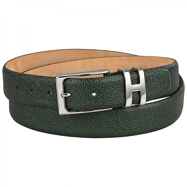 green scotch grain leather belt by Handmacher