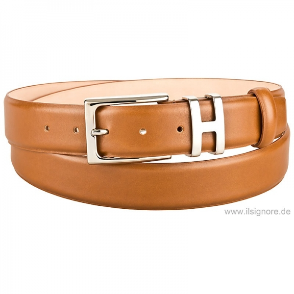 Handmacher belt cognac box calf