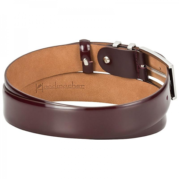 oxblood leather belt by Handmacher