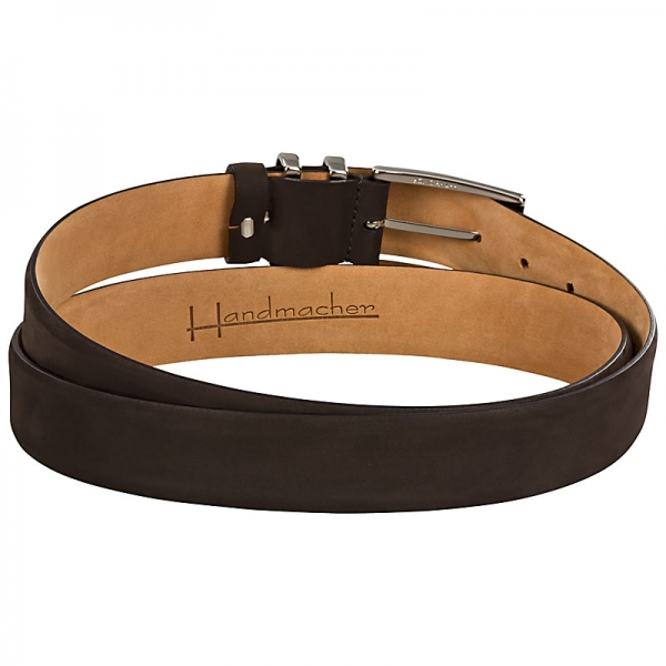 Handmacher mocha brown nubuck leather belt