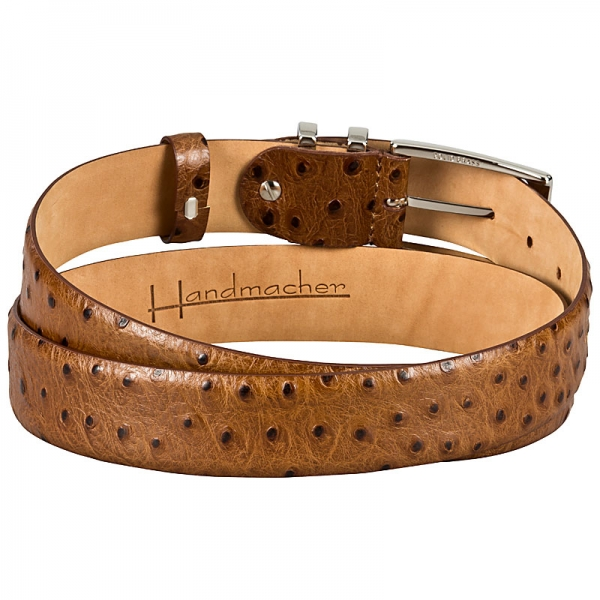brown ostrich belt appearance by Handmacher