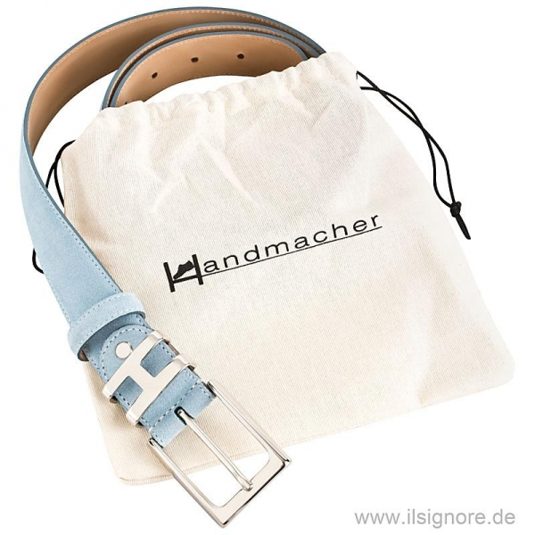 Handmacher belt in light blue suede