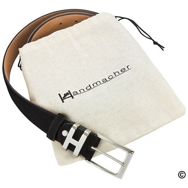 Handmacher black suede belt