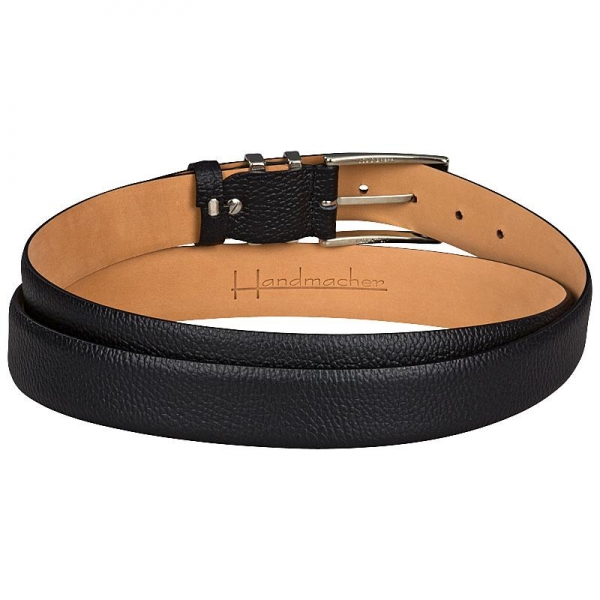 Handcrafted belt of black buffalo leather