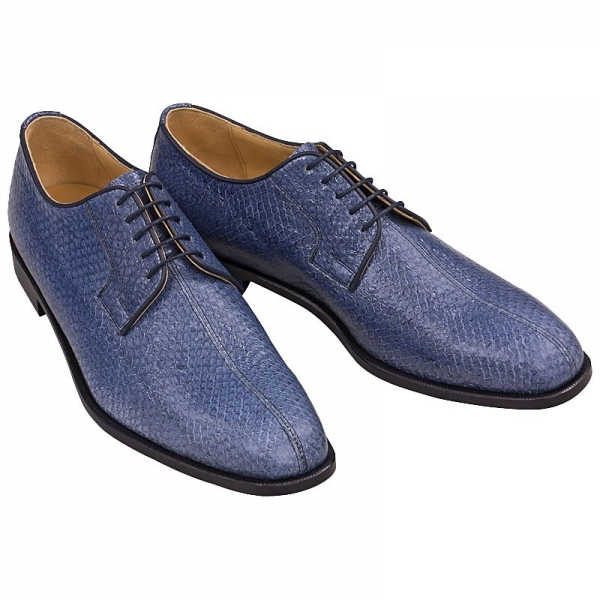 blue salmon leather shoes