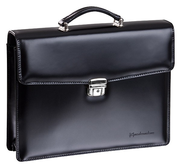 Handmacher bag small in black high gloss leather