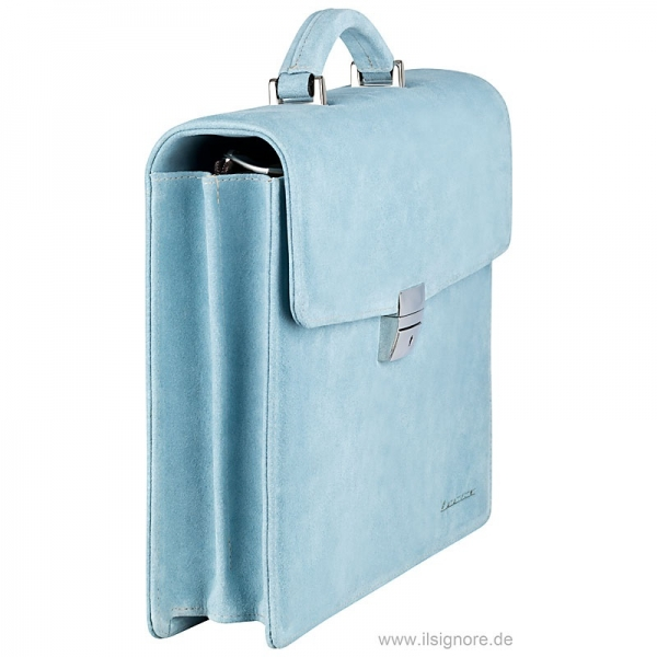 Handmacher bag in light blue suede