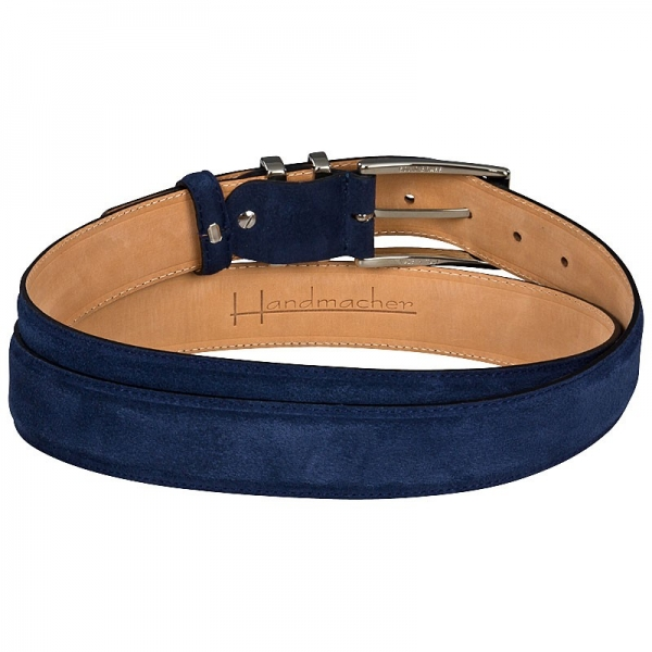 Blue suede belt by Handmacher